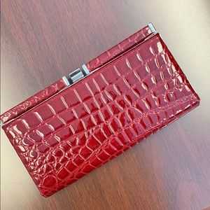 Ann Taylor Loft Red faux leather clutch